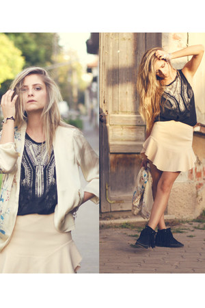 fringe boots - pull&bear jacket - loose c&a top - asymmetrical Zara skirt