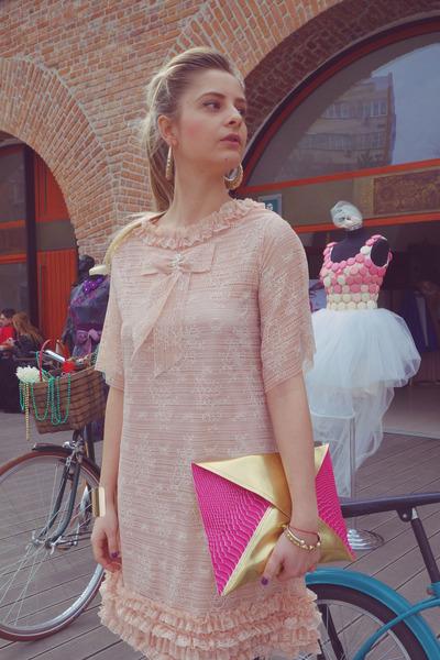 H&M earrings - pastel Confused by Alina dress - Laura bag - cuff H&M bracelet