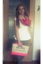 bubble gum Bershka scarf - hot pink Bershka bag - tan Motivi pants