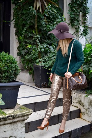 brown H&M hat - bronze glitter H&M leggings - monogram Louis Vuitton bag