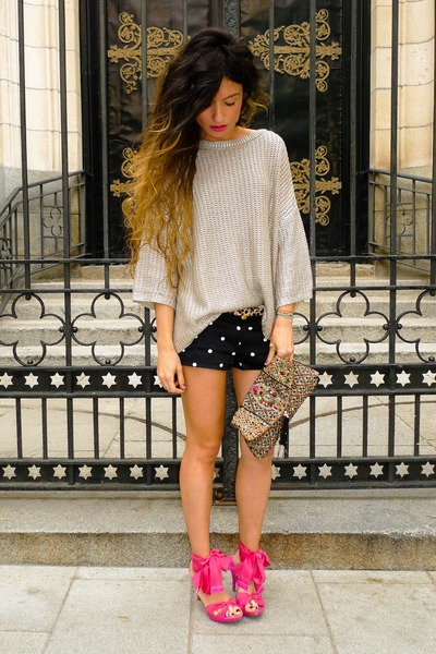 Accesorize purse - Zara sweater - Zara shorts - hot pink Miss Sixty sandals
