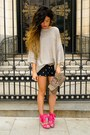 Zara-sweater-accesorize-purse-zara-shorts-hot-pink-miss-sixty-sandals