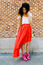 Carrot-orange-h-m-skirt-hot-pink-miss-sixty-sandals-nadka-necklace