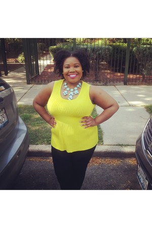 yellow ribbed peplum Goodwill blouse - black Old Navy jeans