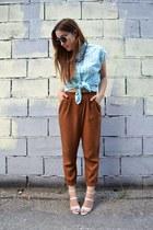Zara pants - turquoise blue vintage blouse - Zara heels