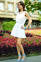 white H&M blouse - white Cubus skirt - sky blue Deashop sandals