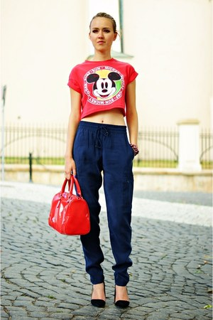 red Primark top - navy Esprit pants