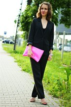 black H&M blazer - hot pink River Island purse - black H&M pants