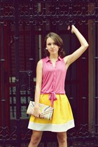 light yellow Savi Style skirt - yellow Amiche purse - bubble gum new look blouse