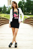 black H&M skirt - white Mango blazer - black River Island top