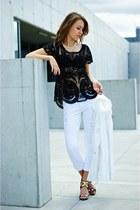 black Sheinside blouse - white preska24 blazer - white Stradivarius pants