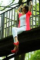 white H&M top - hot pink H&M cape - white Stradivarius pants