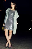 silver second hand dress - heather gray River Island cape - silver Deashop heels