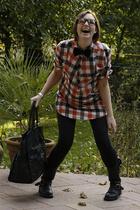 black biker boots shoes - red plaid dress - black bag
