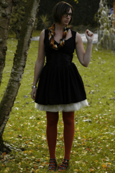 H&M scarf - dress - H&M skirt - tights - shoes
