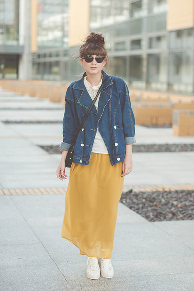 white Geox sneakers - blue romwe jacket - yellow romwe skirt
