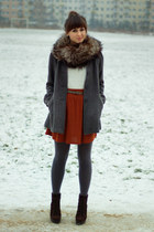 gray H&M coat - brick red Zara skirt - cream H&M top