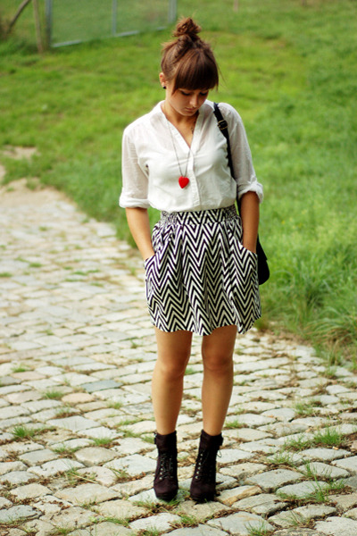 red DIY necklace - black Promod shoes - white H&M shirt - black H&M skirt