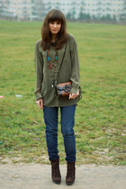 navy Zara jeans - army green H&M shirt - dark brown vintage bag
