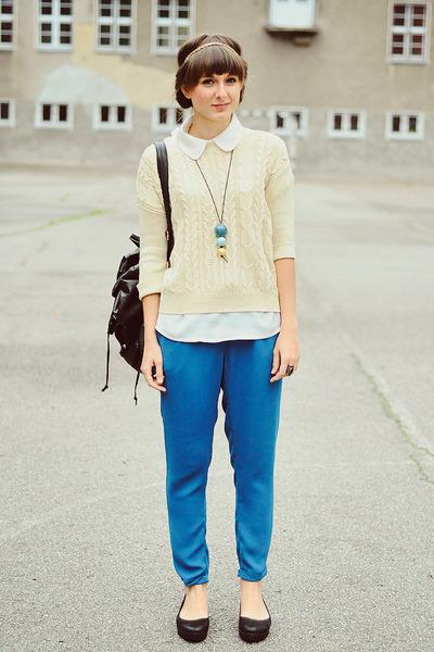 blue reserved pants - black romwe bag