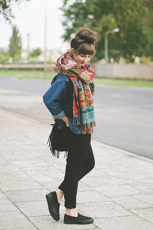 brick red Zara scarf - black new look shoes - navy romwe jacket