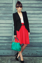 red H&M skirt - black Vero Moda blazer - green romwe bag