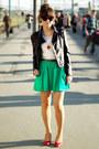 Red-deichmann-shoes-black-romwecom-jacket-green-zara-skirt