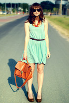 aquamarine H&M dress - bronze Romwecom bag