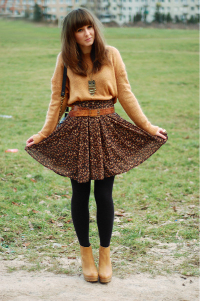 camel Stradivarius boots - mustard Cubus sweater - dark brown Zara skirt