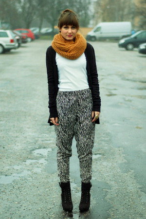 black Promod boots - mustard Zara scarf - black H&M pants