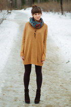 dark brown Zara boots - burnt orange Cubus sweater