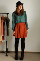 green vintage shirt - tawny Zara skirt