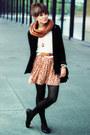 Burnt-orange-mango-dress-black-h-m-blazer-bronze-h-m-scarf