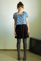 blue H&M top - black H&M skirt - heather gray Deichmann heels