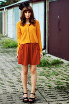 mustard H&M sweater - burnt orange Zara skirt - black pakamerapl accessories