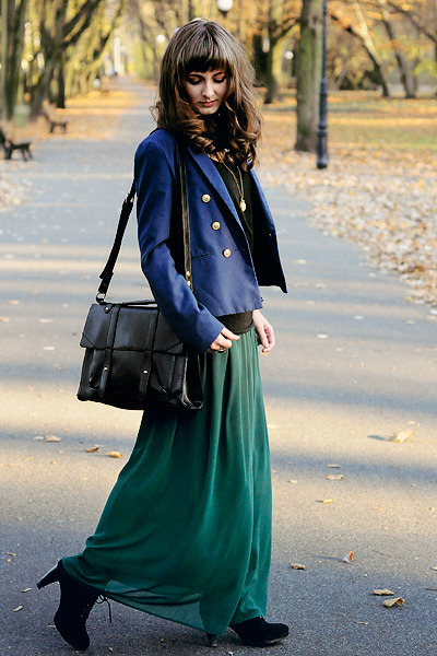navy H&M blazer - black Chicwish bag - dark green Romwecom skirt
