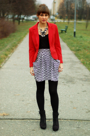 red H&M blazer - black H&M