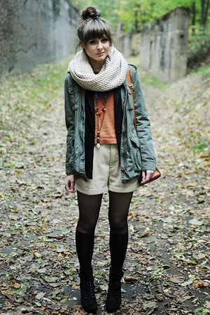 army green H&M jacket - black romwe tights - bronze romwe bag