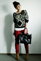 ruby red Zara pants - black Chicwish sweater - black Chicwish bag