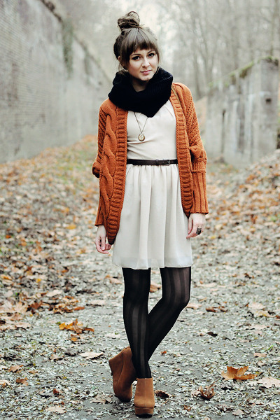 bronze Papilionpl wedges - Love dress - black romwe tights - romwe cardigan