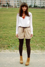 Bronze-stradivarius-boots-beige-h-m-shorts-orange-diy-necklace-white-h-m-b