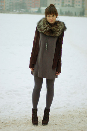 dark brown Zara boots - charcoal gray Promod dress - dark brown H&M cardigan