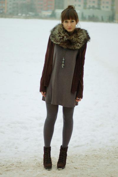 dark brown Zara boots - charcoal gray Promod dress - dark brown H&M cardigan