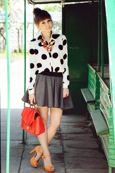 cream romwe shirt - orange sholove sandals - heather gray Chicwish skirt