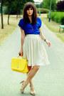 Yellow-wholesale-dress-bag-blue-stradivarius-top-cream-mango-skirt