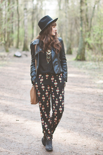 black romwe jacket - black Forever 21 pants