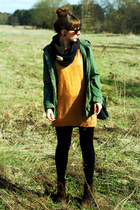 dark brown Zara boots - army green H&M jacket - yellow Cubus sweater