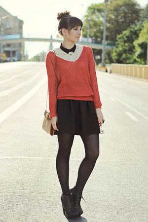coral Housepl sweater - black cocktail shock skirt