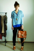 tawny Romwecom bag - blue Stradivarius shirt - blue Stradivarius top