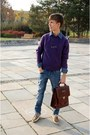 Dark-khaki-deichmann-shoes-blue-h-m-jeans-deep-purple-takko-sweater
